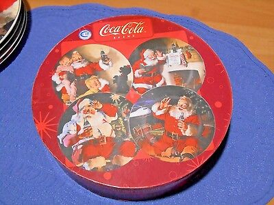 Coca Cola Holiday Portraits Set of 4 Stoneware Salad Desert Plates by Sakura