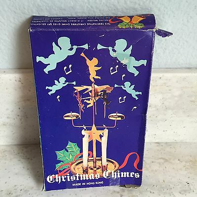 Golden Tin Candle Christmas Chimes Angel Cherrub Windmill Party Holiday Vintage
