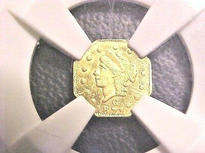 1871 Fractional Gold..25c..MS62..NGC..BG-767..Octag/Lib..BEST OFFERS CONSIDERED