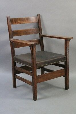 1910 Antique Craftsman Armchair Vintage Arts & Crafts Seat w Leather (10272)