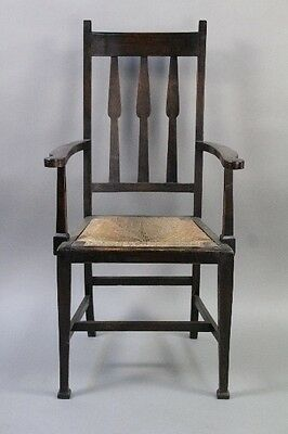 1910 Arts & Crafts Armchair w Rush Seat Antique Craftsman Chair Macurdo (10271)