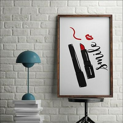 SMILE Poster Inspirational Wall Quotes * A3 A4 Art Print Make Up Beauty Salon