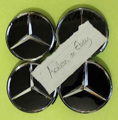 Mercedes Centre Caps 4x 75mm Black Alloy Wheel C B Class CLS Benz