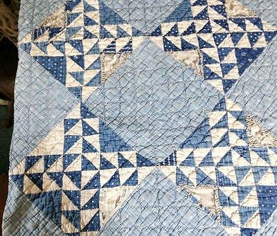 "Antique Cutter Quilt Pieces Indigo & Cadet Blue Calico 19.5"" x 20"""