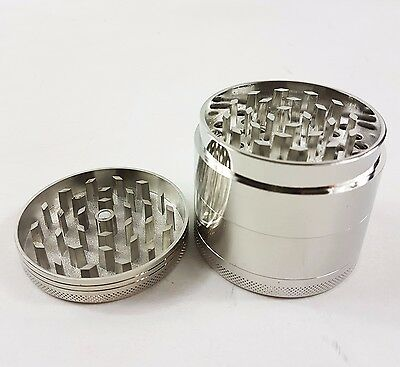 Silver Chromium Metal Crusher 4 Layers Tobacco Spice Herb Tea Grinder US Gift