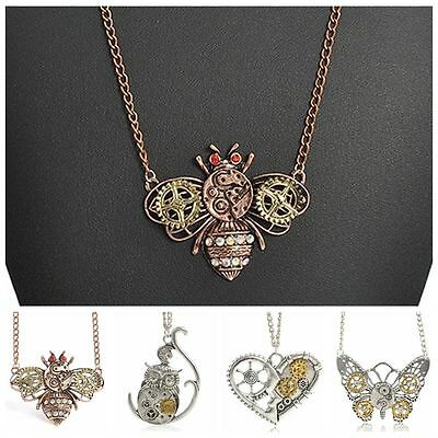 Retro Mechanical Heart Owl Gear Steampunk InsectNecklace Pendant Punk Jewelry
