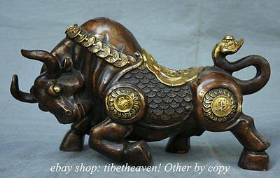 "16"" Chinese Bronze Gilt Fengshui Wealth Strong Ox Cattle Bull Statue Sculpture"