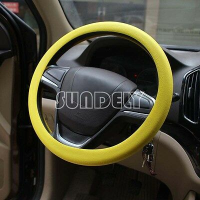 Car steering wheel cover WHEEL Leather Texture Soft Cover Skin HOT Yellow