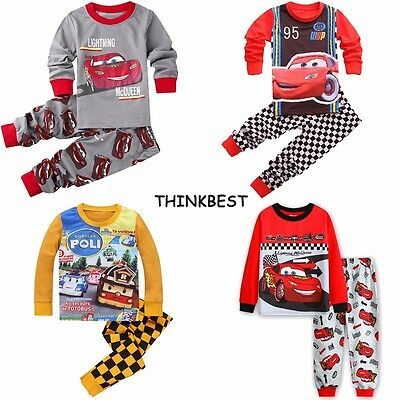 CARS Baby Toddler Boys Pajamas Pjs T-shirt Sleepwear Nightwear Size 2-7T