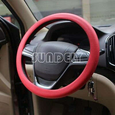 Car steering wheel cover WHEEL Leather Texture Soft Cover Skin HOT Red