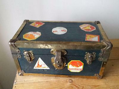 RARE c1920 Salesman Sample Steamer Trunk Cass Toys USA Doll Chest w/ Stickers.