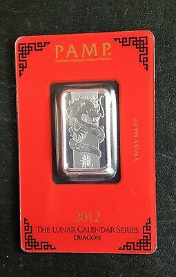 Pamp Suisse  Silver 10 Gram Bullion Bars 2012 Dragon