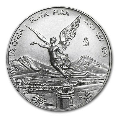 2017 Mexican Libertad 1/2 oz .999 Silver BU Round Very Limited Bullion Coin