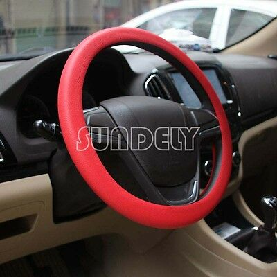 High Quality Car steering wheel cover 36cm - 40cm Silicone Soft Cover, Red