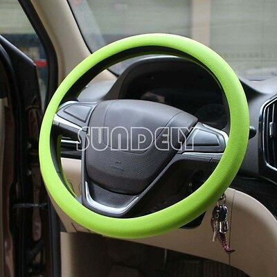 High Quality Car steering wheel cover 36cm - 40cm Silicone Soft Cover, Green