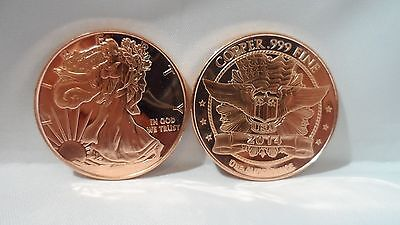 10 Walking Liberty 1oz. .999 Copper Bullion Art Rounds Collectibles F/S