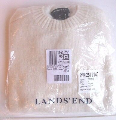 New Lands End Kids Boys Girls 100% Cashmere Beige Sweater S 7 - 8 Holiday Soft