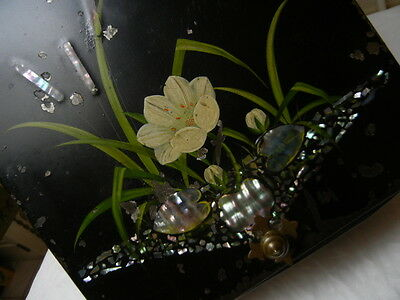 Painted Metal VICTORIAN CHINOISERIE COAL SCUTTLE Mother of Pearl Inlay Antique