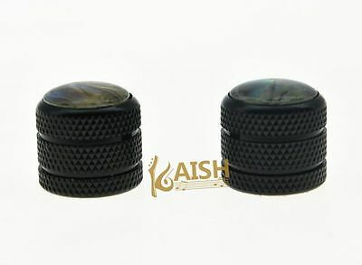 Pack of 2 Black Push On 6mm Guitar Abalone Top Dome Knobs Bass Knob Tele Knob