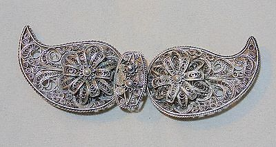 ANTIQUE 19th. C. IMPERIAL RUSSIAN STERLING SILVER FILIGREE COSTUME BELT BUCKLE