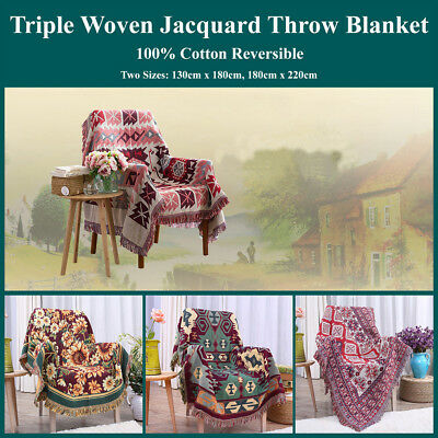 Triple Woven jacquard Throw Blanket Reversible Coverlet 100% Cotton Geometric