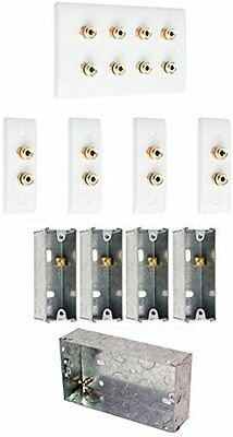 Complete 4.0 Slimline Surround Sound Speaker Wall Plate Kit + Back Boxes with NO
