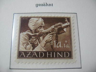Timbre Allemagne Inde Azad Hind Neuf** 1A + 1A Dentele