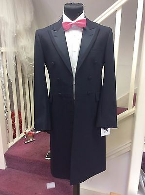 Men's Navy Wedding Victorian Frockcoat With Satin Face Lapels