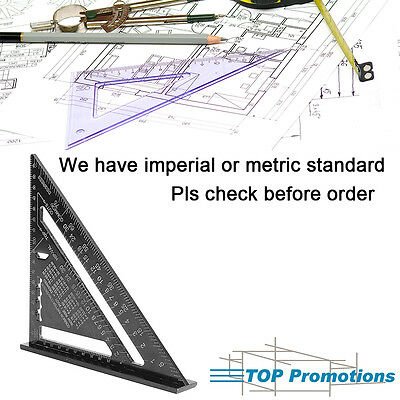 """7"""" Metric/Imperial Protractor Measure Woodworking Square Aluminum Triangle Ruler"""