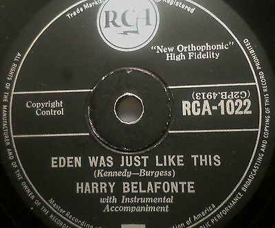 "HARRY BELAFONTE ""Eden Was Just Like This / Mary's Boy Child"" RCA 78rpm 10"""