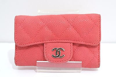 CHANEL Pink Leather 6 Key Case