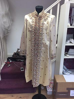 Ivory  Sherwani With Gold & Burgundy Embroidery