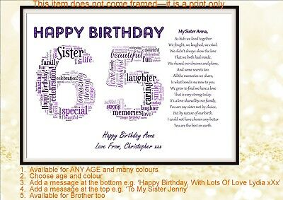Personalised Special Sister Poem Word Art 30 40 50 60 65th Birthday Gift Present