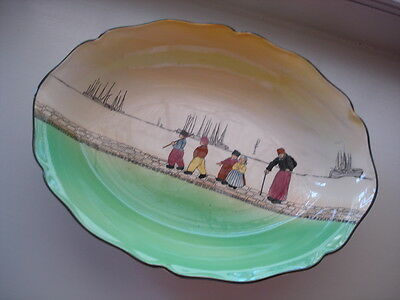 Antique Vintage Porcelain China Royal Doulton Dutch Harlem Oval Bowl Green