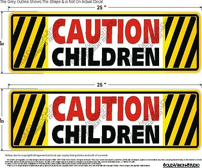 "TWO 8"" x 25"" Caution Children Decals Concession Ice Cream Food Truck Safety Sign"