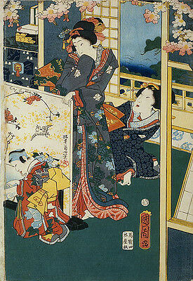 Japanese Scene In A Villa Woodblock Reproduction Print Picture Painting
