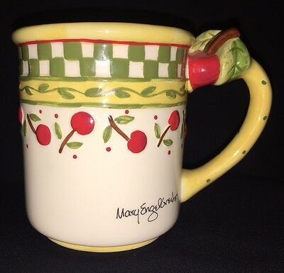 MARY ENGELBREIT 12 Oz MUG CHERRIES GREEN & WHITE CHECKED QUANTITY AVAILABLE MYG4