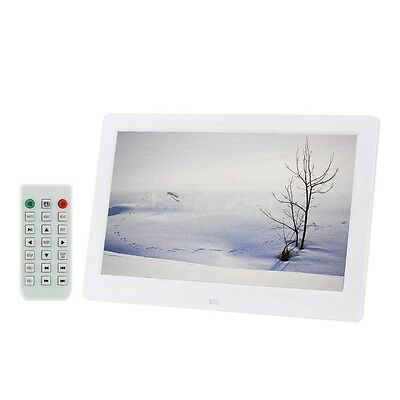 10.1'' Slim HD TFT-LCD Digital Photo Frame Alarm Clock MP4 Movie Player White FT