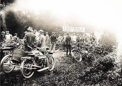 VINTAGE MOTOR CYCLE SCENE . MOTOR CYCLE MEET IN FRANCE c 1920's