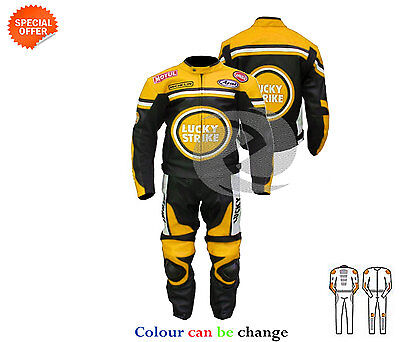 Perforated two piece leather suit in yellow lucky strike leather jacket trouser