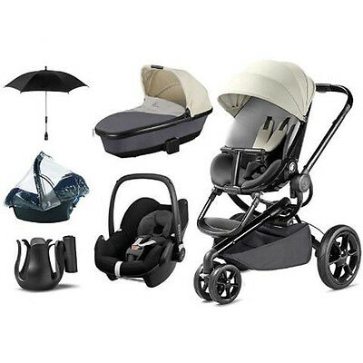Quinny Moodd REWORKED GREY Travel Inc. BLACK Pebble Car Seat Carry cot + FREE