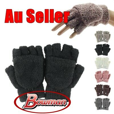 Unisex Winter New Flip Fingerless Mittens Colorful Warm Knitted Wrist Gloves Hot