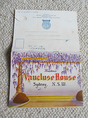 Vintage Foldout Colour View Folder, Vaucluse House Sydney NSW