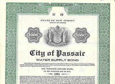 Collection City County State Stock Bond Certificates Passaic