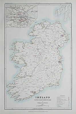 1881 IRELAND Dublin To Illustrate the Sanitary Condition of the Country Map