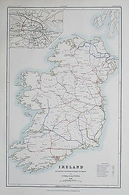 1881 IRELAND Dublin To Illustrate the Railway System of the Country Map