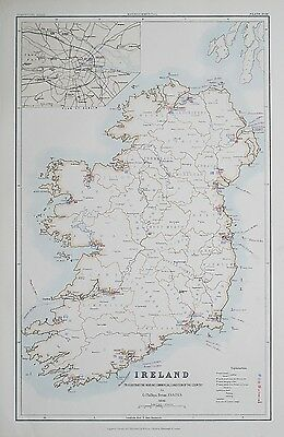 1881 IRELAND Dublin To Illustrate the Marine Condition of the Country Map