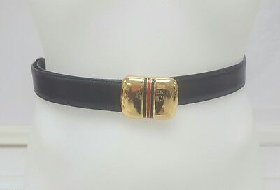 Vintage 80's Gucci Leather Belt W Classic Gold Belt Buckle & Green & Red Stripe
