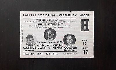 1963 MUHAMMAD ALI v HENRY COOPER on-site boxing ticket Cassius Clay Jack Johnson