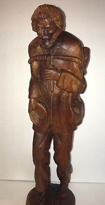 "Original Large Wooden Hand Carved Sculpture 21"" Tall Unsigned by Artist"